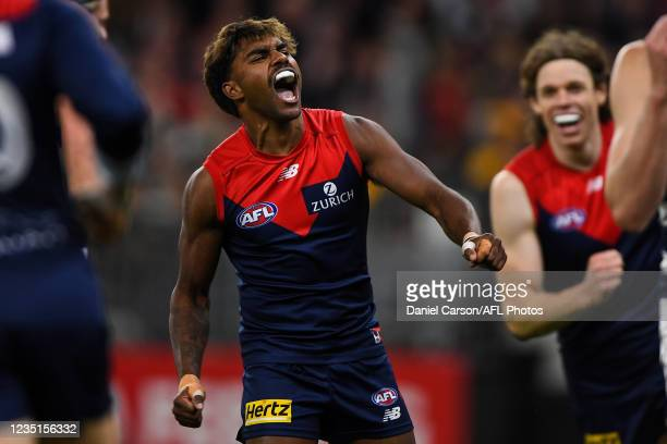 Kysaiah Pickett of the Demons celebrates a goal during the 2021 AFL First Preliminary Final match between the Melbourne Demons and the Geelong Cats...