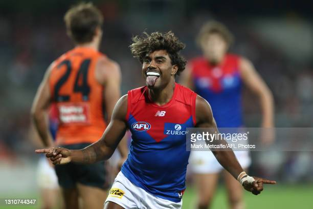Kysaiah Pickett of the Demons celebrates kicking a goal during the round 3 AFL match between the GWS Giants and the Melbourne Demons at Manuka Oval...
