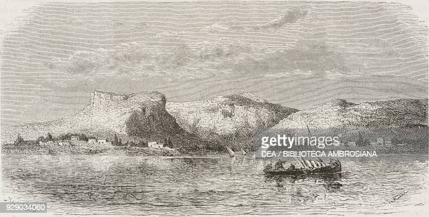 Kythira , Greece, drawing by Theodor Alexander Weber from a sketch by Belle, Voyage in Greece, 1861-1868-1874, by Henri Belle, from Il Giro del mondo...