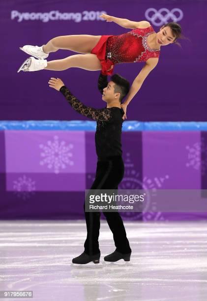Kyueun Kim and Alex Kang Chan Kam of Korea compete during the Pair Skating Short Program on day five of the PyeongChang 2018 Winter Olympics at...