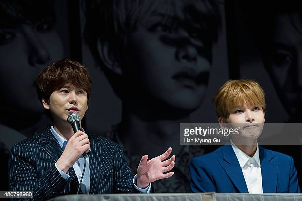 Kyuhyun and Ryeowook of South Korean boy band Super Junior attend the press conference for SM Entertainment's Super Junior 10th Anniversary Special...