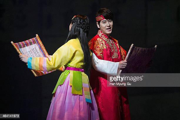 "Kyuhyun of boy band Super Junior and Seohyun of South Korean girl group Girls' Generation attend the press call for musical ""Moon Embracing The Sun""..."