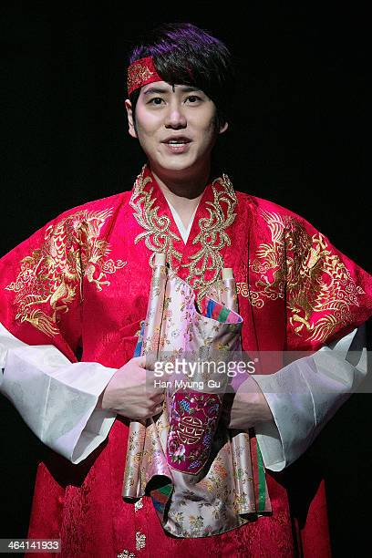 "Kyuhyun of boy band Super Junior attends the press call for musical ""Moon Embracing The Sun"" on January 20, 2014 in Seoul, South Korea."