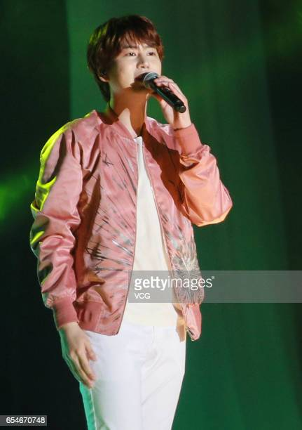 Kyuhyun of South Korean boy group Super Junior performs in his solo concert at AsiaWorld-Expo on March 17, 2017 in Hong Kong, China.