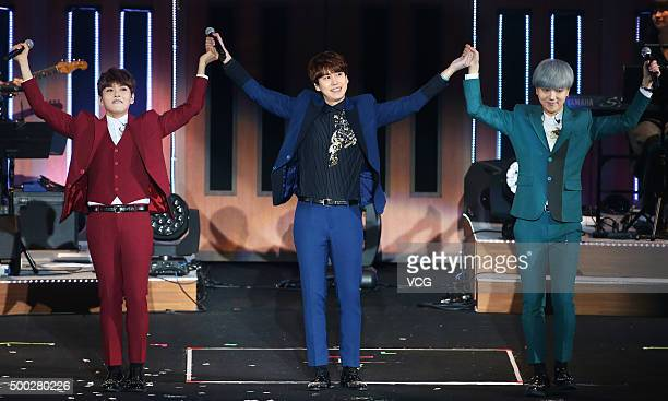 Kyuhyun, Yesung and Ryeowook of Super Junior-K.R.Y. Perform on the stage in concert on December 6, 2015 in Taipei, Taiwan.