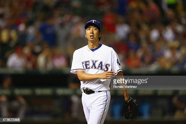 Kyuji Fujikawa of the Texas Rangers throws against the Cleveland Indians in the sixth inning at Globe Life Park in Arlington on May 15 2015 in...