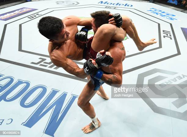 Kyung Ho Kang of South Korea attempts to submit Guido Cannetti of Argentina in their bantamweight bout during the UFC Fight Night event inside the...