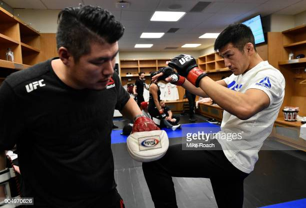 Kyung Ho Kang of South Korea warms up backstage during the UFC Fight Night event inside the Scottrade Center on January 14 2018 in St Louis Missouri