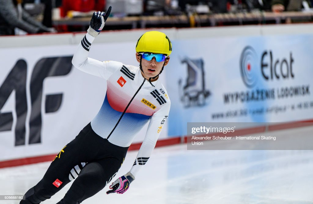 Kyung Hwan Hong of Korea wins the Men 1500m Final A during the World Junior Short Track Speed Skating Championships Day 1 at Arena Lodowa on March 3, 2018 in Tomaszow Mazowiecki, Poland.