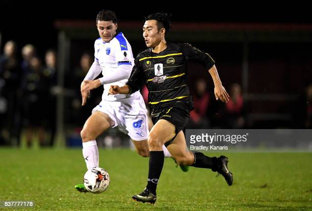 Kyusub Bang of Moreton Bay in action during the FFA Cup round of 16 match between Moreton Bay United and Gold Coast City at Wolter Park on August 23...