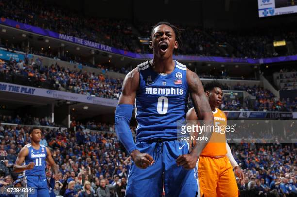 Kyvon Davenport of the Memphis Tigers celebrates against the Tennessee Volunteers on December 15, 2018 at FedExForum in Memphis, Tennessee. The...