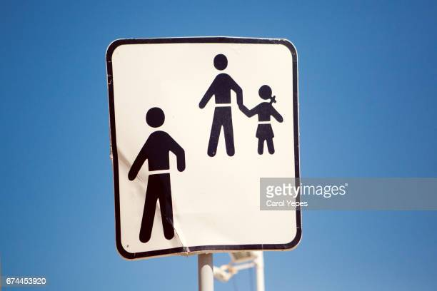 l children crossing sign with copy space