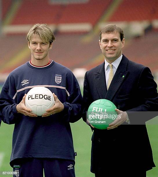 [l To R] David Beckham And Prince Andrew At Wembley Football Stadium To Publicise The 'full Stop' Campaign By The Nspcc Charity National Society For...