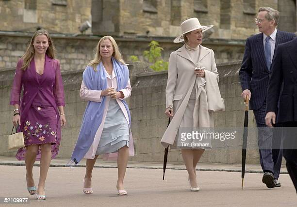 [l To R] Lady Rose Windsor Lady Davina Windsor The Duchess Of Gloucester And The Duke Of Gloucester Walking Towards The Chapel For A Service At St...