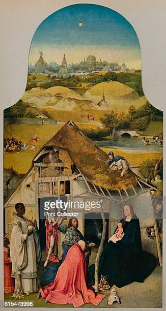 La Adoracion de Los Reyes' 14851500 A triptych panel by Hieronymus Bosch executed around 14851500 Detail of the central panel with the Magi Mary sits...