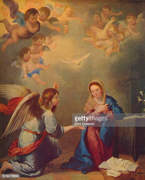 La Anunciacion' New Testament scene depicting Archangel Gabriel 's Annunciation to the Virgin Mary accompanied by a sewing basket and book...