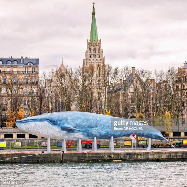 La Baleine Bleue' le 4 Décembre 2015 pendant la COP21 à Paris France Projet de l'association 'Un cadeau pour la terre' Réplique en résine grandeur...