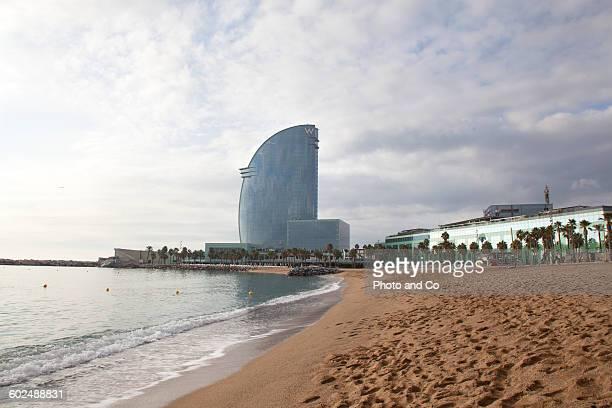 La Barceloneta beach, bay of Water, sea, Hotel W