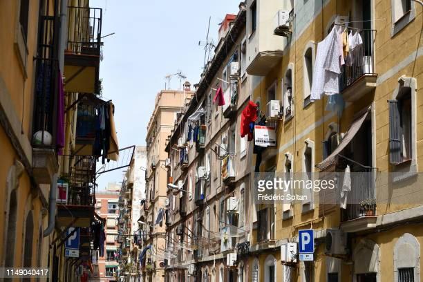 La Barceloneta neighborhood in the Ciutat Vella district in Barcelona on April 04 Spain.