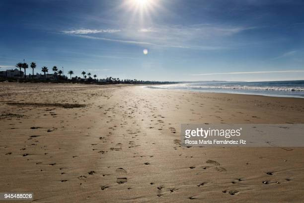 La Barrosa beach on a sunny and beauty winter morning day. Chiclana de la Frontera, Cadiz, Andalusia, Spain