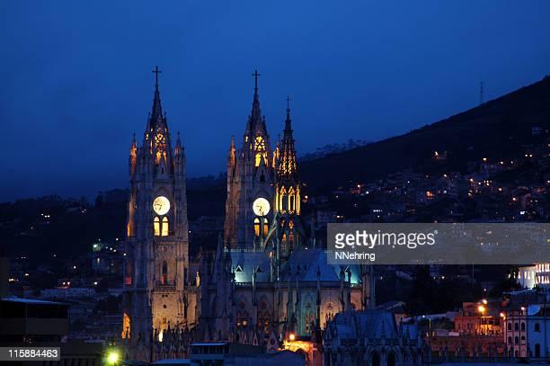 La Basilica del Voto Nacional, Quito, Ecuador, at night