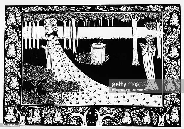 La Belle Isoud in the Garden from Le Morte d'Arthur by Aubrey Beardsley