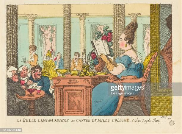 La Belle Limonaudiere au Cafe des Mille Colonnes, Palais Royal, Paris, 1814. Artist Thomas Rowlandson.