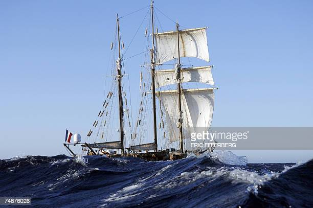 La Boudeuse a threemasted schooner ship sails along west Corsica coast on her way to Bastia captained by French explorer Patrice Franceschi 24 June...
