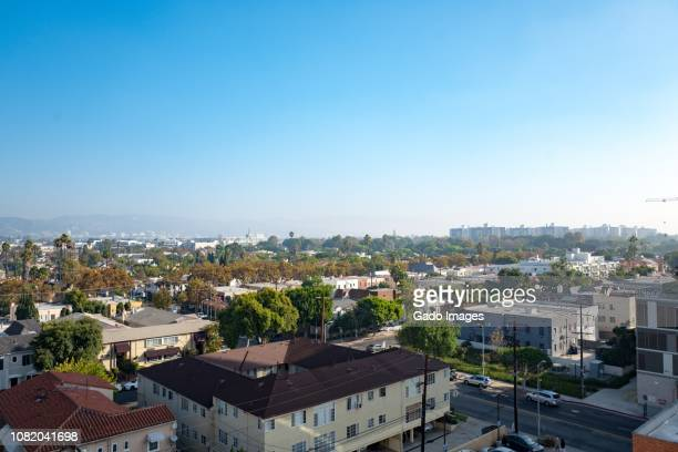 la brea and fairfax aerial - fairfax california stock pictures, royalty-free photos & images