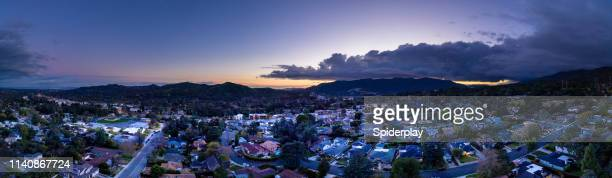 la canada, la crescenta - aerial drone shot panorama - san fernando california stock photos and pictures