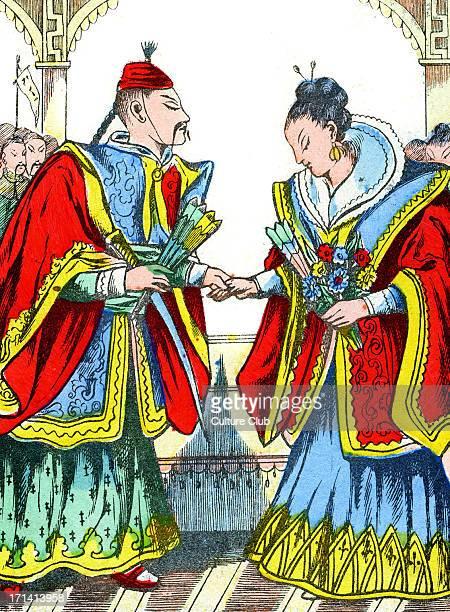 'La Cendrillon Japonaise' The Japanese Cinderella The emperor 's son asks Cinderella to dance Caption reads 'Le fils de l'Empereur la fait danser'