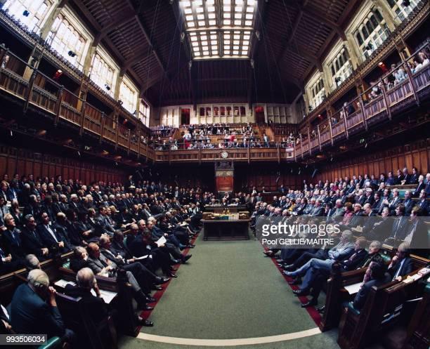 La Chambre des communes lors d'un débat dans le palais de Westminster à Londres en décembre 1986 RoyaumeUni