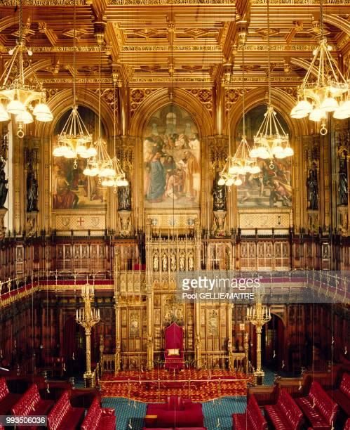 La Chambre des Lords dans le palais de Westminster à Londres en décembre 1986 RoyaumeUni