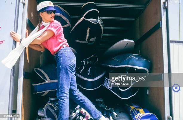 La championne de planche à voile Jenna de Rosnay le 24 avril 1985 au Japon