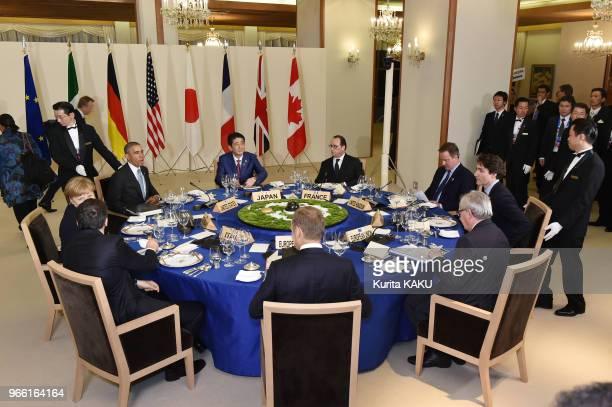 La chancelière allemande Angela Merkel le premier ministre canadien Justin Trudeau le président américain Barack Obama le président français François...