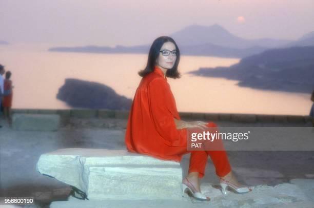 La chanteuse Nana Mouskouri en juillet 1984 en France