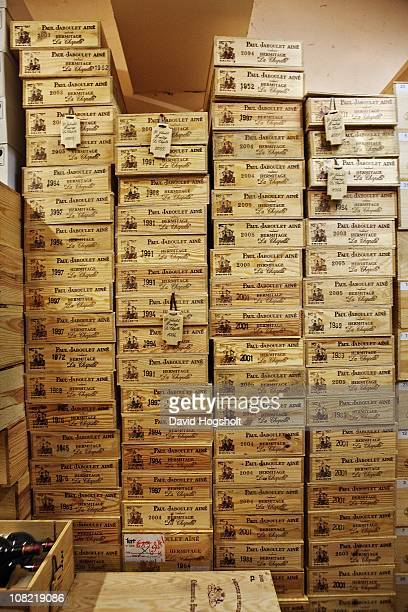 'La Chapelle' crates August 4 2009 in the cellar of a private wine collector in Hong Kong August 5 2009 in Hong Kong Brand ambassador and world class...