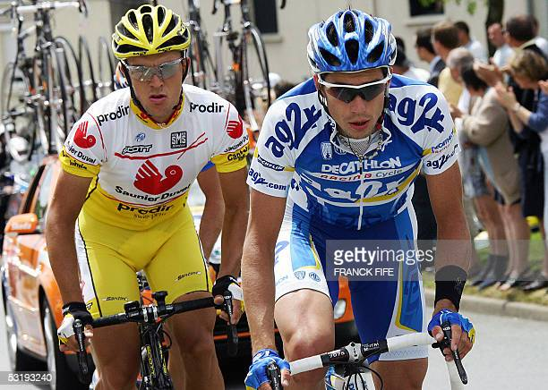 La Chataigneraie, France: Frenchman Nicolas Portal rides in front of Spaniard David Canada during their breakaway in the 92nd Tour de France cycling...