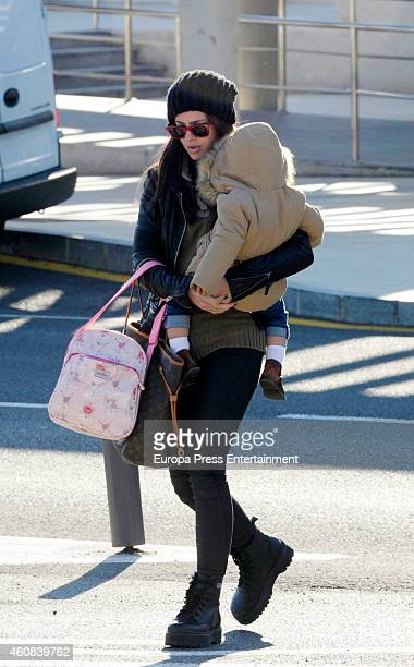 La China Suarez and her daughter are seen on December 23 2014 in Almeria Spain
