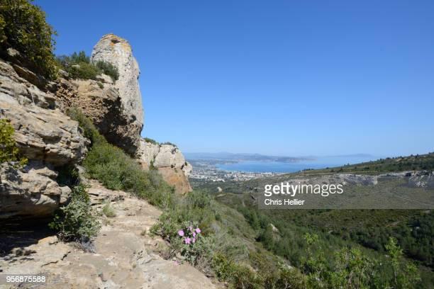 la ciotat viewed from le bau rous rocks route des crêtes la ciotat provence france - calanques stock pictures, royalty-free photos & images
