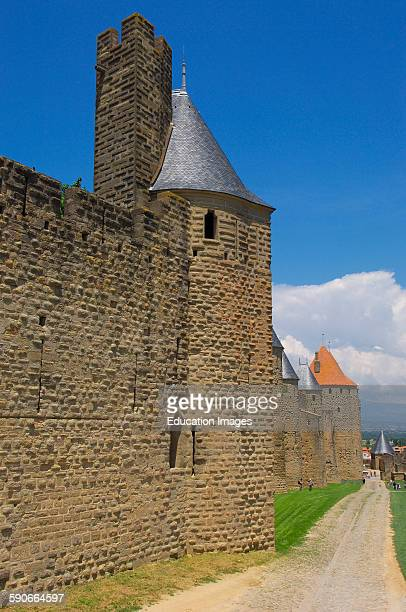 La Cite Carcassonne medieval fortified town Aude LanguedocRoussillon France