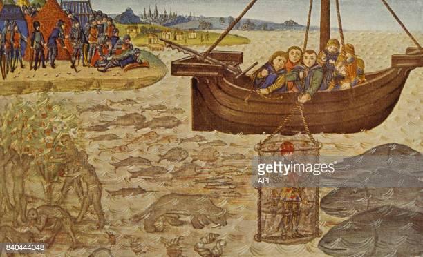 La cloche de plongée sousmarine d'Alexandre le Grand miniature du XVè siècle