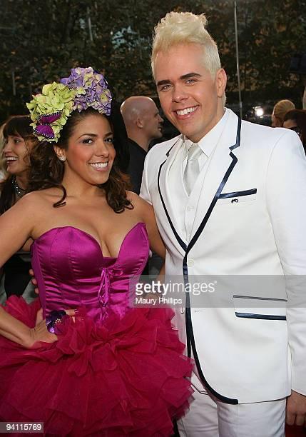 La Coacha and Perez Hilton arrive at Coca Cola on the 2009 American Music Awards Red Carpet at the Nokia Theatre LA Live on November 22 2009 in Los...