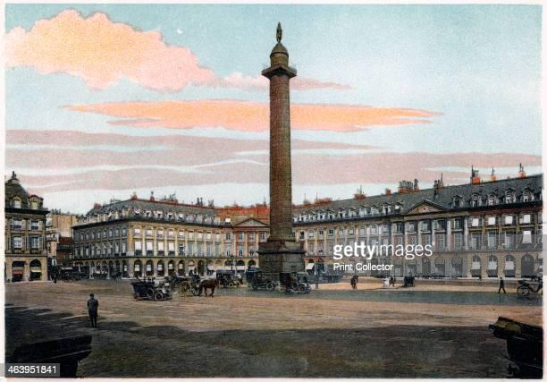 La Colonne Vendome Paris c1900 The column modelled after Trajan's Column was erected by Napoleon to celebrate the victory of Austerlitz