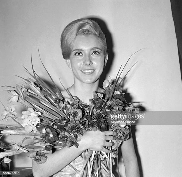 La comedienne Marie Dubois maquillee par Jean d'Estrees le 9 fevrier 1965 a Paris France