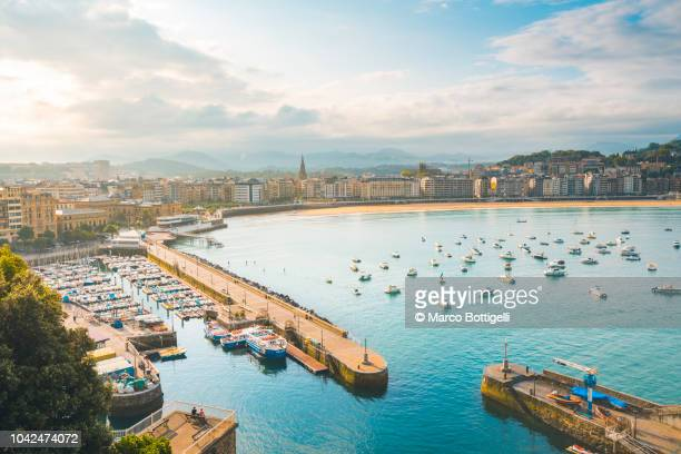 la concha bay, san sebastian, spain - spain stock pictures, royalty-free photos & images
