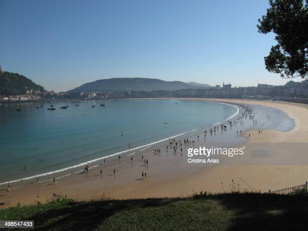 La Concha beach with San Sebastian in the background seen from the Miramar Palace Guipuzcoa Basque Country Spain