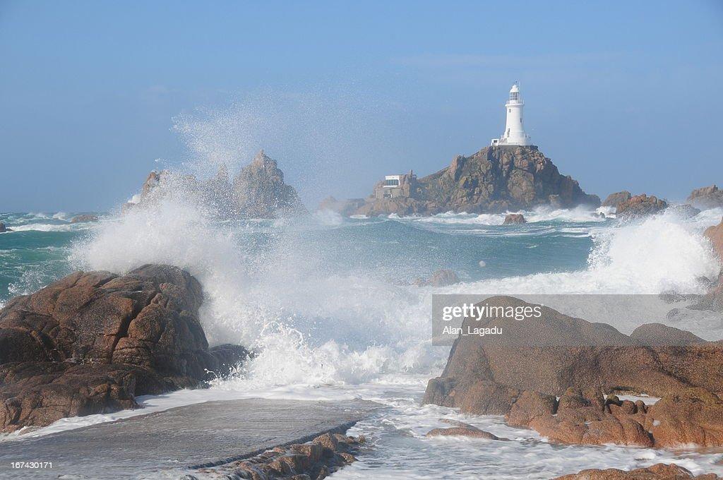 Faro de La corbière, Jersey. : Foto de stock