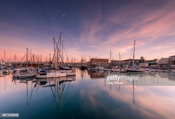la coruña pier at sunrise - a coruña stock pictures, royalty-free photos & images