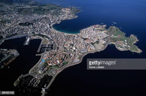 La Coruna Aerial view Port